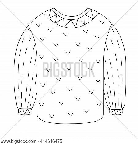 A Cozy Warm Sweater For The Cold Winter In The Style Of Doodle. Vector Illustration Of A Wool Jumper