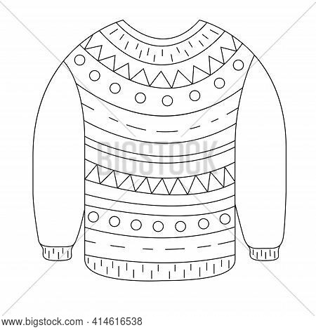 A Cozy Sweater For The Winter And Autumn In The Style Of Doodle. Vector Illustration Of A Wool Jumpe