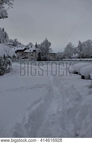 Majestic Winter Panorama At The Lake In Buchs In Switzerland 15.1.2021