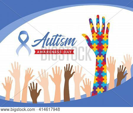 Wolrd Autism Awareness Day Banner With Raise Hands And Hand Colorflu Puzzle Sign For Autism Vector D