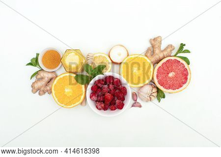 Healthy Immune Products Background, Immunity Boosters Composition Top View.