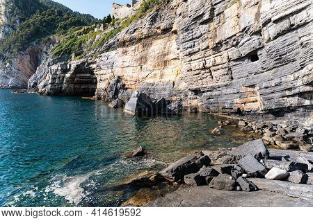 Porto Venere, Liguria, Italy. June 2020. Gulf Of Poets View With The Famous Byron Cave, Named After
