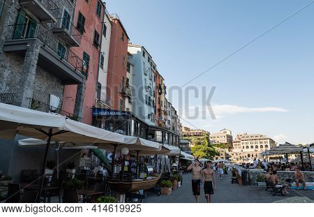 Portovenere, Liguria, Italy. June 2020. View Of The Promenade In Front Of The Beautiful Houses With
