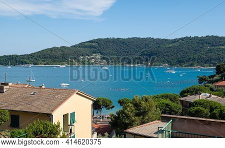 Portovenere, Liguria, Italy. June 2020. Sea View From The Village Hill: A Magnificent View Of The Ba