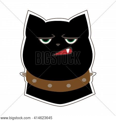 Funny Black Cat With A Sullen Expression On His Face. Cartoon Character. Vector Illustration Isolate