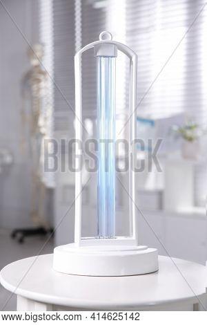 Uv Lamp For Light Sterilization On White Table In Hospital