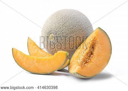 Close Up Of Beautiful Slices Cantaloupe Isolated On White Background.