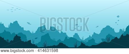 Sea Underwater Background. Marine Sea Bottom With Underwater Plants, Corals And Fishes. Panoramic Se