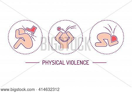 Physical Violence Color Line Icons Set. Harassment, Social Abuse And Bullying. Isolated Vector Eleme