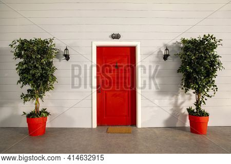 The Door Of The House And The Flowers In Front Of The Door. Red Door, Plants, Red Flowerpot