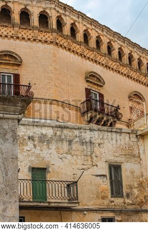 Close Up View Of A Building In Sassi Di Matera, A Historic District In Matera City, Well-known For I