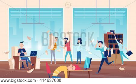 Chaos In Office. Unorganized Business Boring Asleep Managers Daily Problems Exact Vector Background