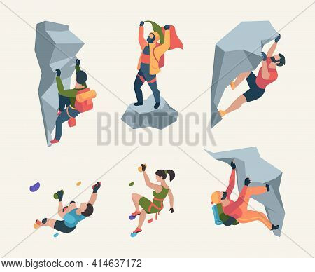 Wall Climbers. Mountain Rock Climbers Person Sport Team People Healthy Active Lifestyle Activities G