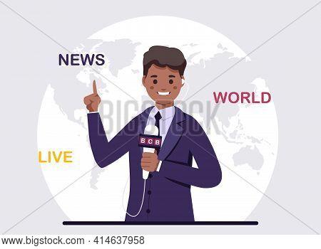 African American Anchorman On Tv Broadcast,vector Illustration. Black Journalist.
