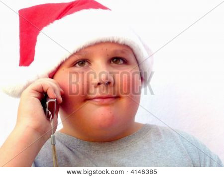 Close Up Boy On Cell Phone