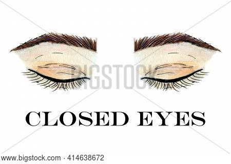 Closed Eyes With Brows Abstract Hand Drawn Watercolor Clip Art On White Background