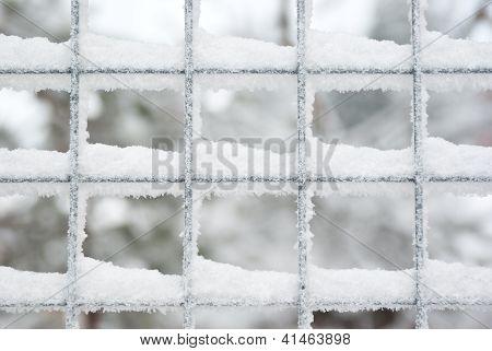 Snow Covered Latticed Fence