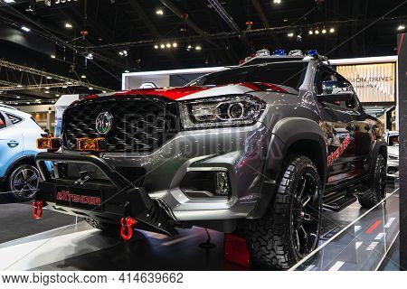 Bangkok, Thailand, March 29, 2021 : New Silver Pickup Truck New Model Of Mg Extender Parking For Sal