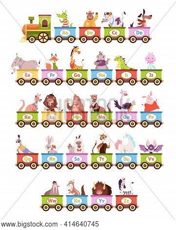Alphabet Train. Cartoon Kids Color Wagons, Funny Animals And Letters, Cute Zoo Abc, Vehicle Toys, Ch