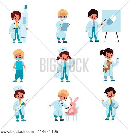 Children Doctors. Kids With Medical Dress And Tools, Hospital Role-playing Game, Toy Patients At Rec