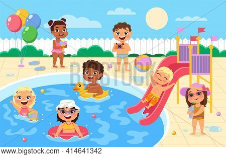 Pool Party Kids. Children Play And Swim In Water Park, Happy Boys And Girls In Swimsuits Race Down W
