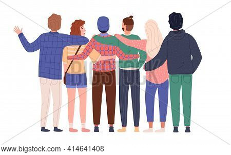Friend Group Hugging. Happy Young Guys And Girls Stand Together In Embrace, Funny People Each Others