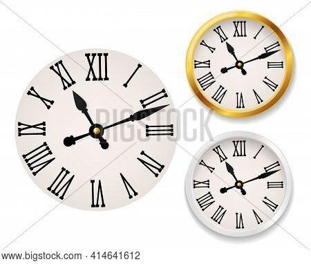 Clock Face Retro. Wall Tower Clocks With Roman Numerals And Antique Classic Hands In Golden And Whit