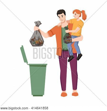 Father And Daughter Throw Garbage In Trash Can Isolated Flat Cartoon Characters. Clean Environment A