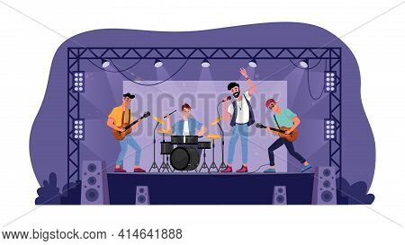 Rock Music Band On Open Stage Isolated Musicians Playing On Guitars, Drum Set And Singer With Microp