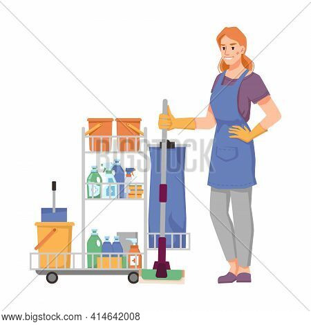 Cleaning Company Worker In Uniform With Trolley Full Of Mops, Detergents, Buckets And Cloths. Sanita
