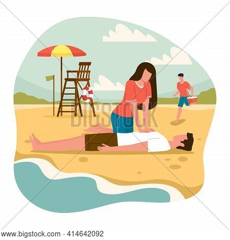 Beach Lifeguards. Emergency Assistance Drowning Situation, Woman Do Indirect Heart Massage To Man, A