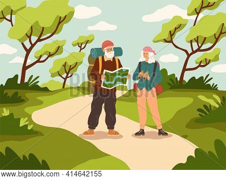 Old People Tourist Walk. Happy Active Elder Couple With Backpack Trip Adventure, Senior People Vacat