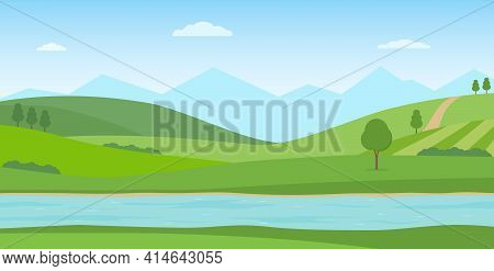 Panoramic Summer Landscape. Rural Scenery With River, Green Hills And Mountains. Vector Illustration