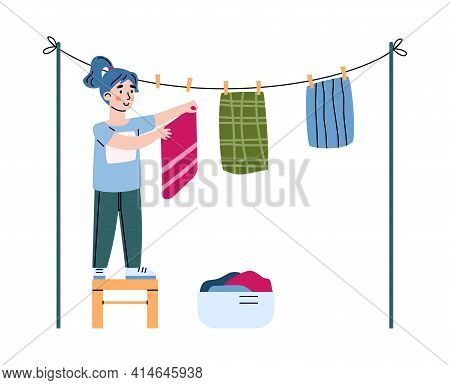 Little Girl Hangs Up The Washed Laundry, Cartoon Vector Illustration Isolated.