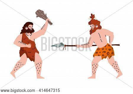 Prehistoric Caveman Stone Age Neanderthals Fighting With Primitive Weapon.