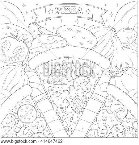 Delicious Pepperoni Cheese Pizza Slice And Other Ingredient. Learning And Education Coloring Page Il