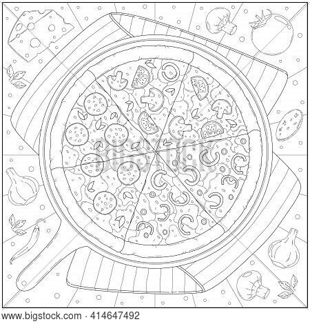 Delicious Pepperoni Cheese Pizza And Ingredient In The Pan. Learning And Education Coloring Page Ill