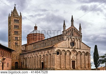 Historic Stone Church With A Belfry In The City Of Massa Maritima In Tuscany