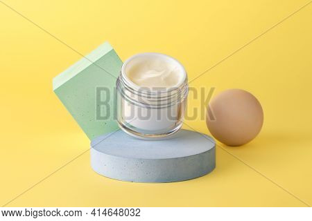 Skin Care Open Packaging With White Creme,staying On The Geometrical Podium.pastel Colors, Mockup Fo