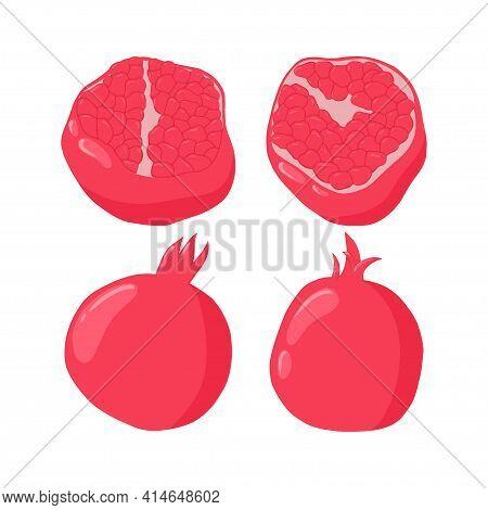 Set Of Pomegranate Fruits Vector Hand Drawn Illustration. Fresh Pomegranate, Whole And Half Sliced.