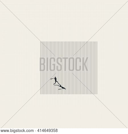 Business Struggle And Strength Vector Concept. Businessman With Baseball. Symbol Of Success, Fight.