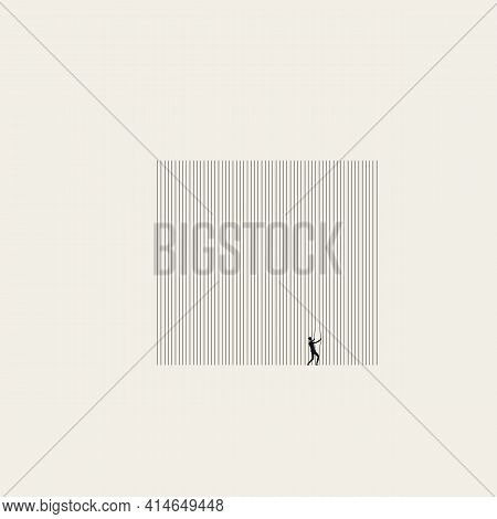 Breaking Free Vector Concept. Symbol Of Struggle For Freedom From Oppression, Prison. Minimal Art.