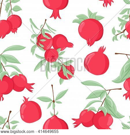 Pomegranate Fruits On Branch With Leaves Vector Hand Drawn Seamless Pat. Fresh Pomegranate For Cosme