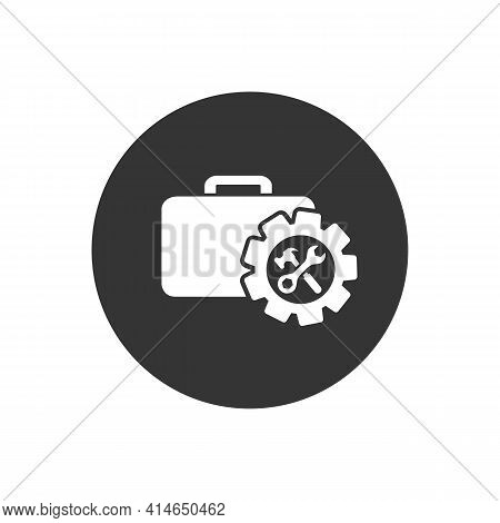 Toolbox With Instruments Inside. Workmans Toolkit. Workbox In White Icon Style. Vector