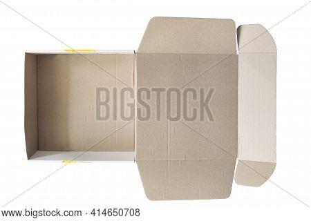 Empty Opened Carton Box Isolated Over White