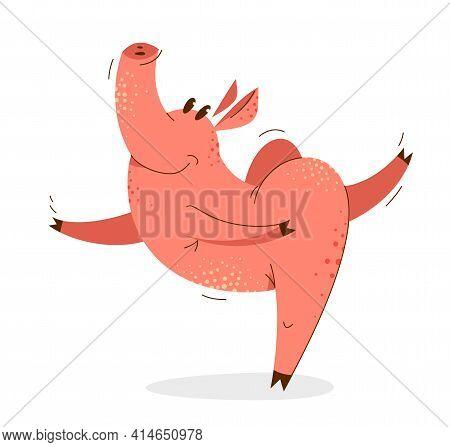 Funny Cartoon Pig Dancing Like A Ballet Vector Illustration, Active Happy Enjoying Animal Swine Char