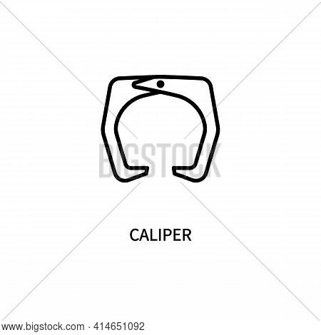 Caliper Icon. External Internal Measurement. Thickness, Depth. Drawing A Circle. For Various Types O