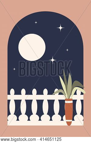 Minimalist Night View From The Balcony Through The Archway. Modern Vector Illustration In Bohemian S