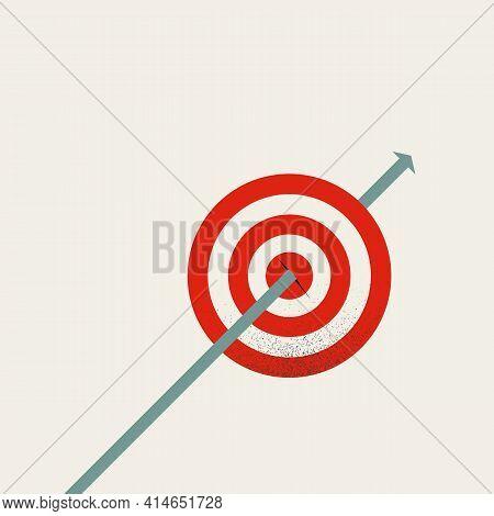 Business Goal And Target Achievement Vector Concept. Symbol Of Success, Growth, Hit Bullseye. Minima