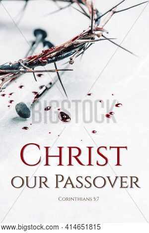 Bloody Nails, Crown Of Thorns, Drops Of Blood On Grey Stone Background. Good Friday, Passion Of Jesu